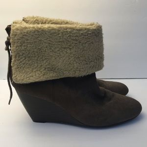Laura Ashley suede wedge booties size 9.5